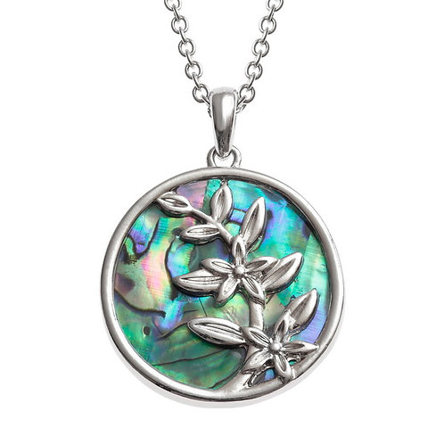 Inlaid Paua Shell Flower Sprig Necklace