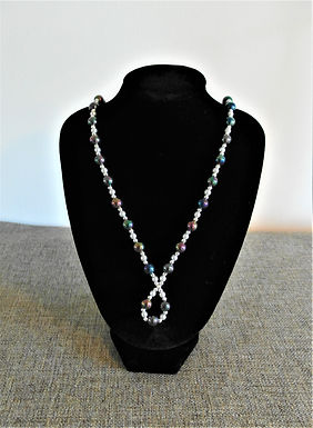 Dark Iridescent Beaded Necklace