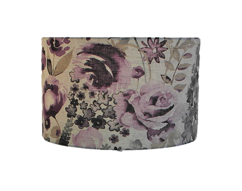 Misty Moors Lilac Purple Floral Design Handmade Lampshade, Drum or Empir
