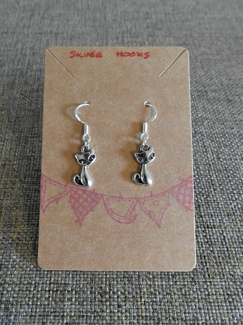 Siamese Cat Earrings With Silver Hooks