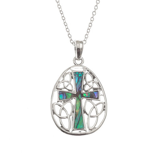 Inlaid Paua Shell Cross in Celtic Surround Necklace