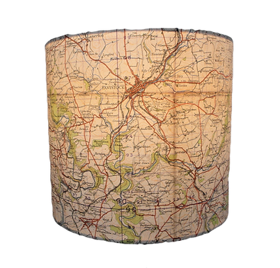 Handmade Launceston Area 1941 Ordinance Survey Map Lampshade, 20cm's