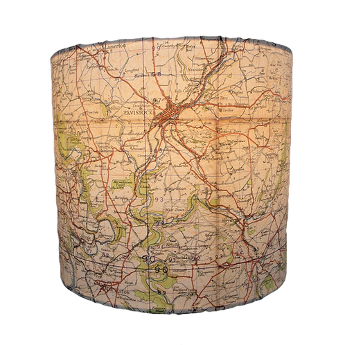Handmade Launceston Area 1941 Ordinance Survey Map Lampshade, 20cm's