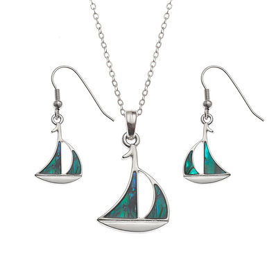 Inlaid Paua Shell Sailboat Necklace and Earrings Set