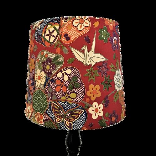 Japanese Cotton Red Origami Crane & Shibori Empire or Drum Handmade Lampshade