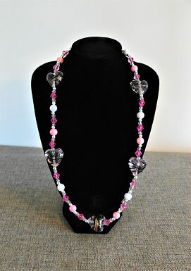 Pink Hearts Beaded Necklace