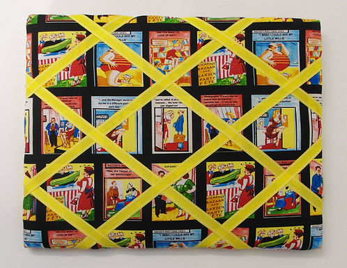 Funny 50's Cheeky Postcards Fabric Memo Board