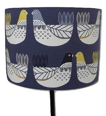 Blue Scandi Hens, Chickens Handmade Lampshade