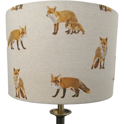 Red Fox Handmade Fabric Lampshade, Drum or Empire Shapes