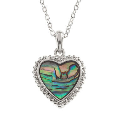 Inlaid Paua Shell Simple Heart Necklace, TJ003