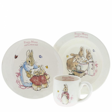 Beatrix Potter Flopsy, Mopsy and Cotton Tail, Ceramic Three Piece Nursery Set, A