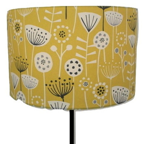 Bergen, Mustard Scandi Flowers Design Handmade Lampshade