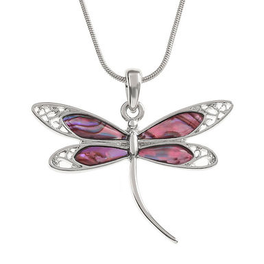 Inlaid Paua Shell Pink Dragonfly Necklace