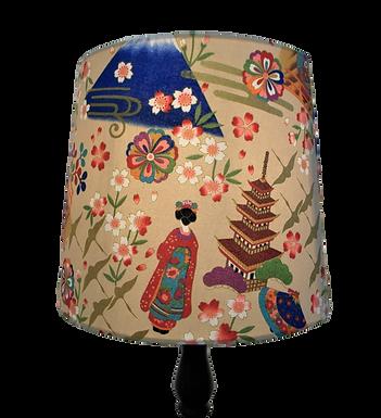 Japanese Cotton Fuji and Maiko Geisha Handmade Empire or Drum Lampshade