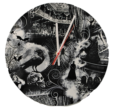 Handmade Gothic Lady and Raven Fabric Wall Clock