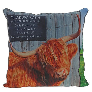 Kitchy & Co Meadow Barn, Highland Cow Cushion