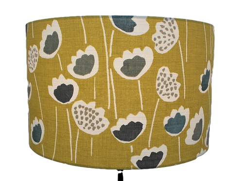 Mustard Tulips Handmade Lampshade, Drum or Empire Shapes