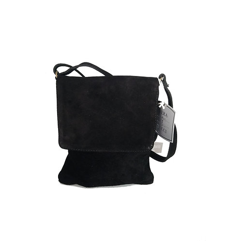 Vera Tucci Premium Suede Abby Shoulder Bag in Black