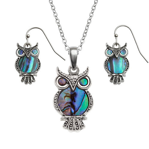 Inlaid Paua Shell Owl Necklace and Earring Set