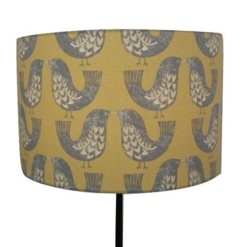 Mustard Scandi Birds Handmade Lampshade