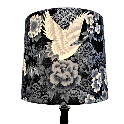 Japanese Cotton Cranes and Waves Edged in Silver Empire or Drum Lampshade