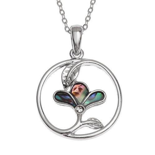 Inlaid Paua Shell Three Petal Flower Necklace, TJ491