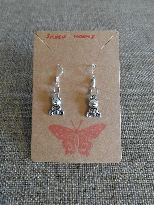 Teddy Bear Earrings With Silver Hooks