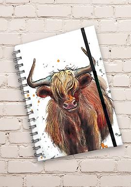 Dollyhotdogs Highland Cow Hard back Notebook