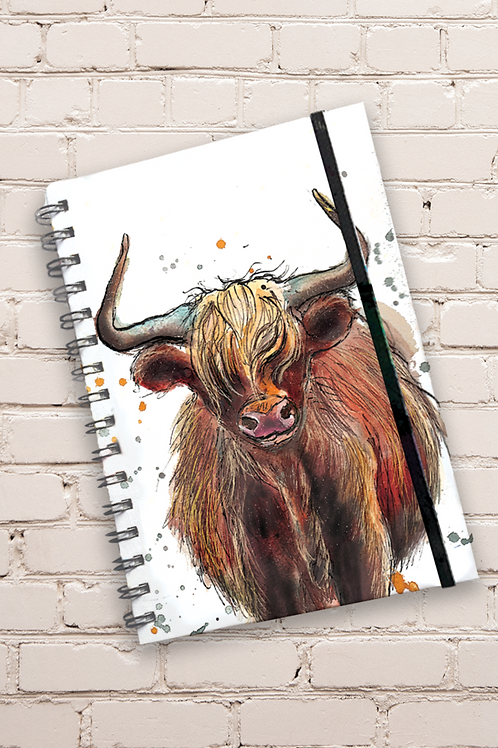 Dollyhotdogs Highland Cow Hard back Notebook