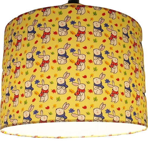 Yellow Bunnies, Rabbits, Childrens Handmade Lampshade, Drum or Empire Shapes