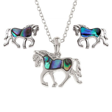 Inlaid Paua Shell Horse Necklace and Earrings Set
