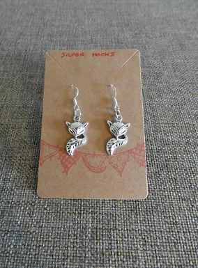 Fox Earrings With Silver Hooks