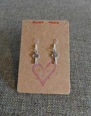 Heart Key Earrings With Silver Hooks