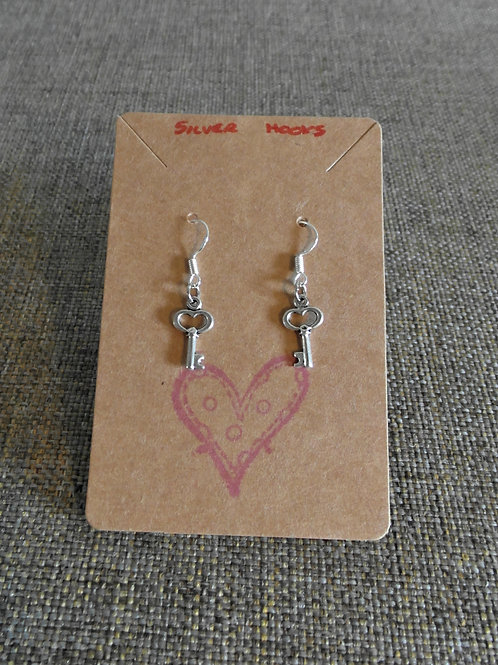 Heart Key Earrings With Silver Hooks