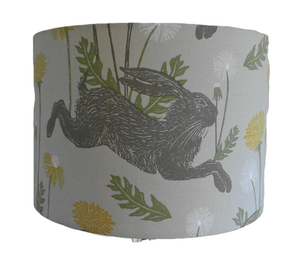 March Hares fabric Handmade Lampshade, Drum Shape