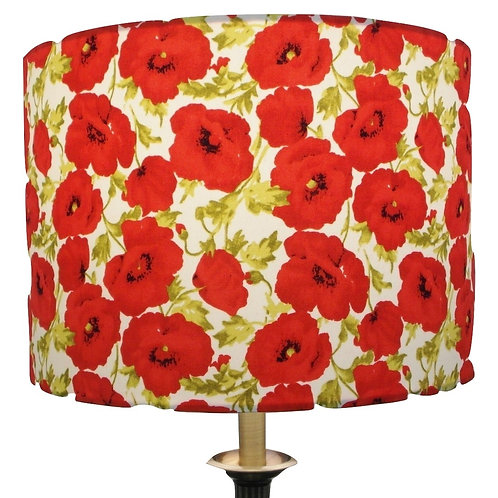 Red Poppy Design Handmade Lampshade, Drum or Empire Shapes