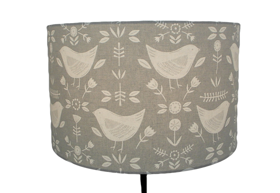 Narvik Scandi Birds Grey Handmade Lampshade