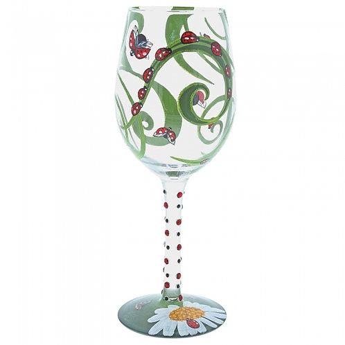 Ladybug Hand Painted Wine Glass