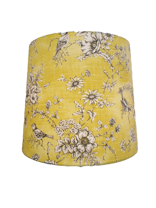 Clearance Mustard Bird + Flowers Fabric Handmade 40cm Empire Lampshade