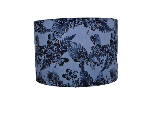 Denim Leaves Tropical Flowers, Handmade Lampshade