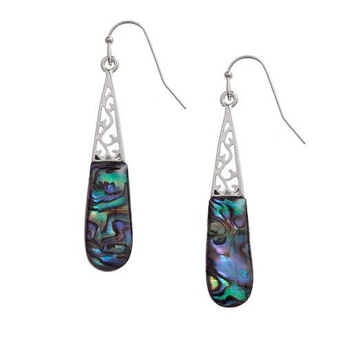 Inlaid Paua Shell Long Drop Earrings