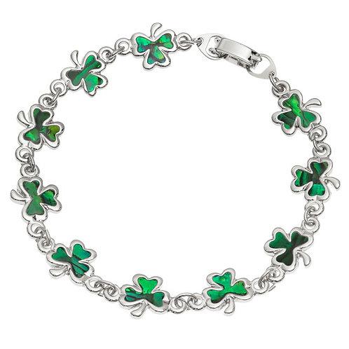 Inlaid Paua Shell Green Shamrock Bracelet