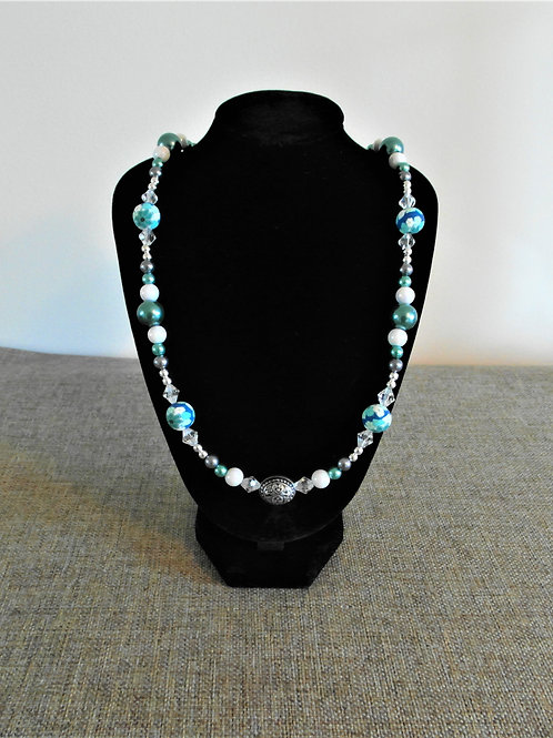 Blue and Turquoise Polymer Bead Necklace