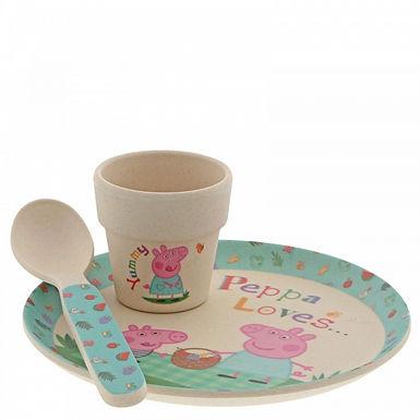 Peppa Pig Bamboo Egg Cup Dinner Set