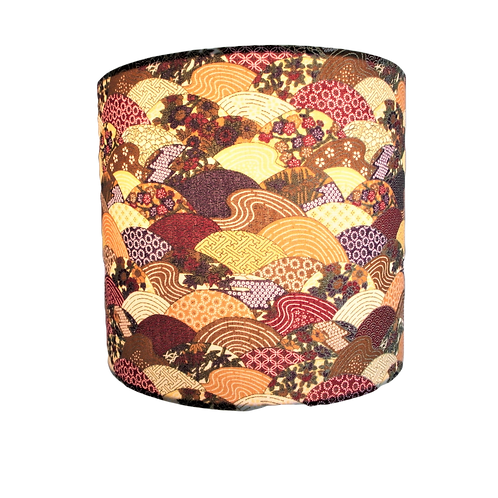 Japanese Cotton Patchwork Waves Design With Gold Outlines Handmade Lampshade