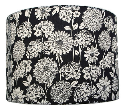 Clearance Floral Black Cotton Handmade Lampshade, Drum or Empire Shapes