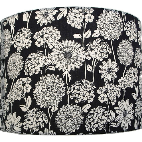 Floral Black Cotton Handmade Lampshade, Drum or Empire Shapes