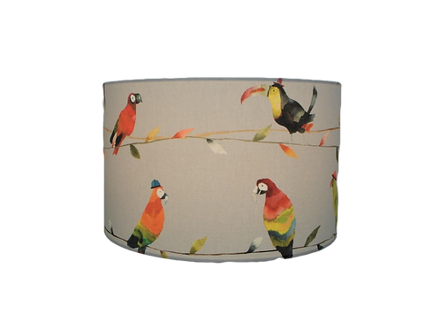 Toucan Talk, Bird and Parrots Handmade Fabric Drum Lampshade