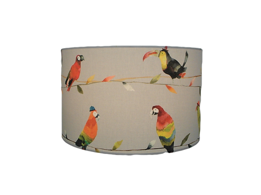 Toucan Talk, Bird and Parrots Handmade Fabric Drum Lampshade