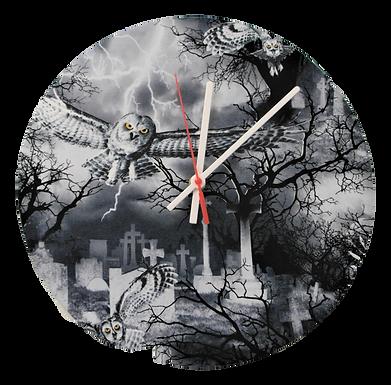 Handmade Gothic Owl and Graveyard Fabric Wall Clock